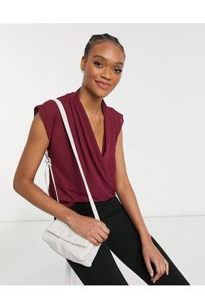 adidas Sleeveless drape wrap top in oxblood-Red