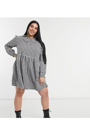 adidas Mini smock dress with collar in gingham check-Black