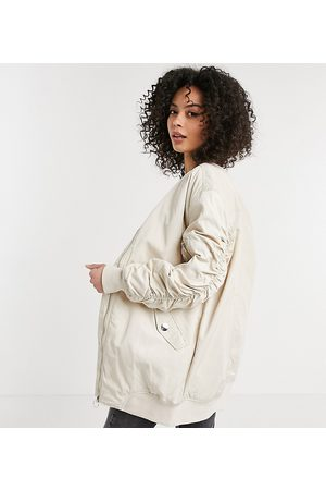adidas Longline bomber jacket with ruched sleeves in stone-Beige