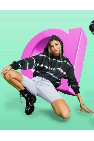 ASOS DESIGN Oversized hoodie in stripe mono tie-dye-Multi