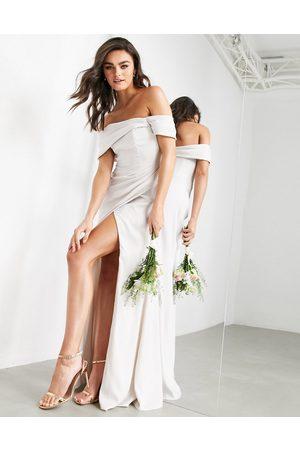 adidas Satin bardot drape wrap maxi dress in pale silver