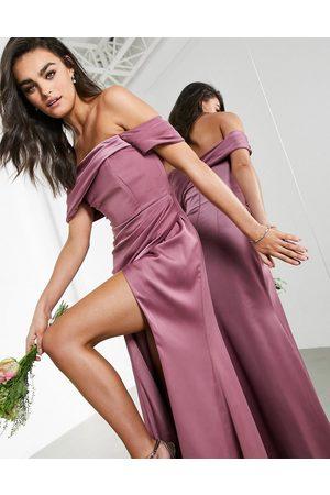 adidas Satin bardot drape wrap maxi dress in orchid-Purple