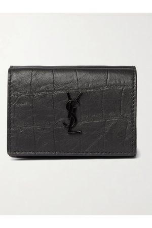 SAINT LAURENT Logo-Appliquéd Croc-Effect Leather Trifold Wallet