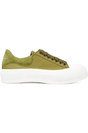 adidas Deck Canvas And Suede Trainers - Womens - Khaki
