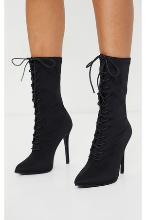 PRETTYLITTLETHING Lace Up Front Sock Boots