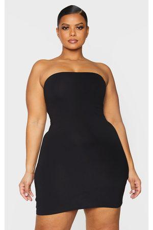 adidas Essential Plus Cotton Blend Jersey Bandeau Bodycon Dress
