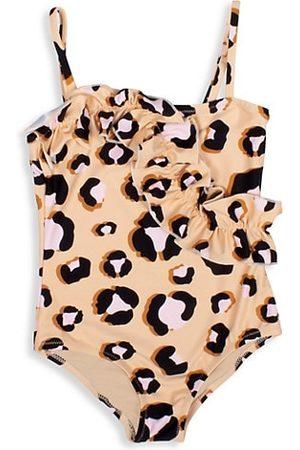 adidas Girl's Ruffle Leopard-Print One-Piece Swimsuit