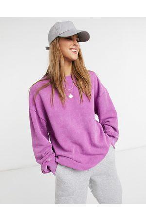 ASOS 4505 unisex logo oversized sweat in acid wash-Purple