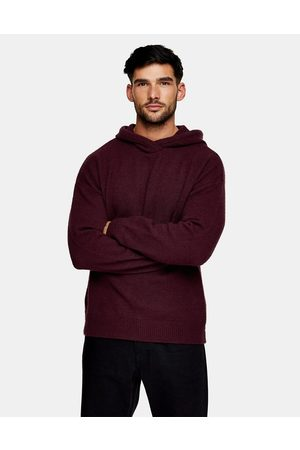 Topman Fluffy knitted hoodie in burgundy-Red
