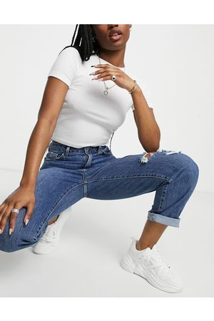 New Look Ripped straight leg jean in blue