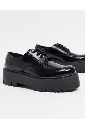 Topshop Platform lace-up loafers in black