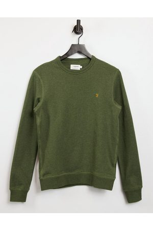Farah Tim crew neck organic cotton sweatshirt in green marl
