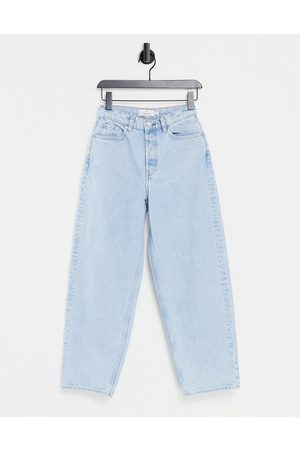 & OTHER STORIES & Major organic cotton high waist tapered leg jeans in stone blue