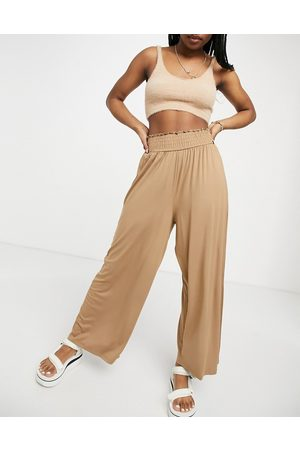 ASOS Culotte pant with shirred waist in sand-Beige