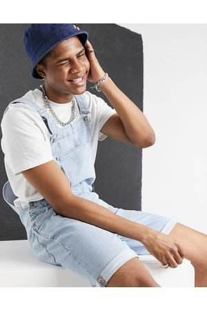 ASOS Relaxed denim overall shorts in light stone wash blue