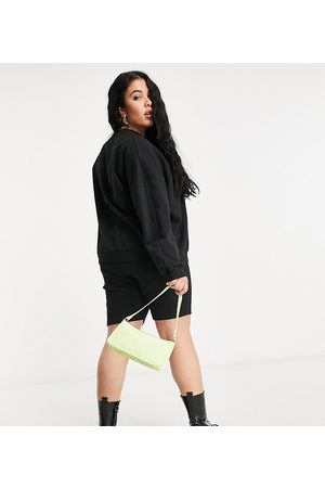 ASOS ASOS DESIGN Curve tracksuit sweatshirt / ribbed legging short in black