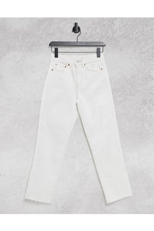 Topshop Straight leg jeans in off white-Cream