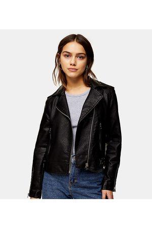 Topshop Faux-leather biker jacket in black