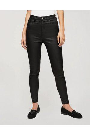 Miss Selfridge Lizzie coated high-waist skinny jeans in black