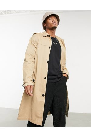 ASOS Lightweight single breasted trench coat in camel-Brown
