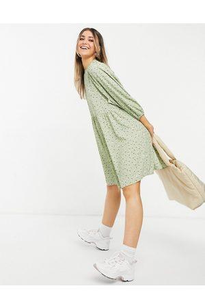 Monki Rosali long-sleeved mini smock dress in green floral