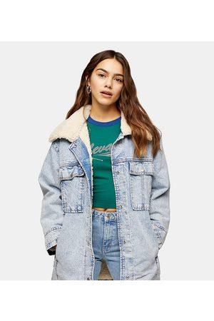 Topshop Borg collar longline denim jacket in acid blue wash-Black