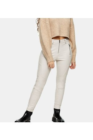 Topshop Faux leather biker pants in cream