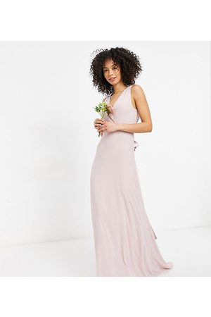 TFNC Bridesmaid plunge front bow back maxi dress in mink-Pink