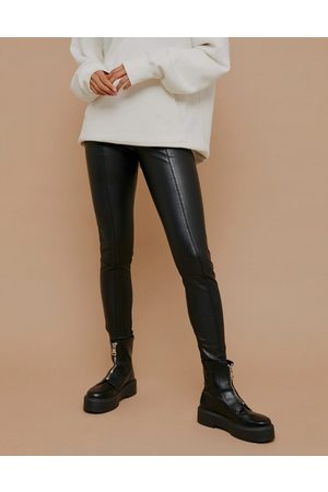 Topshop Faux-leather straight leg pants in black