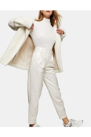Topshop Faux leather straight leg pants in white