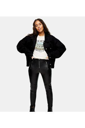 Topshop Faux-leather biker pants in black