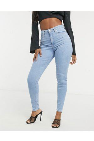 ASOS High rise ridley skinny jeans in stonewash blue