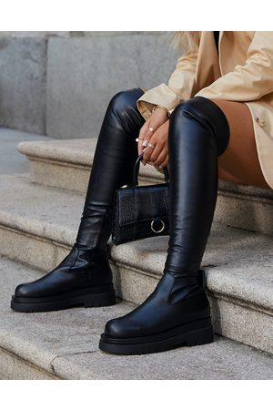Ego X Molly-Mae Reaching flat over the knee boots in black