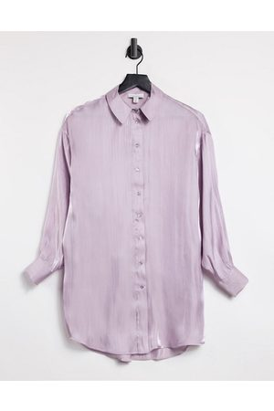 Topshop Oversized satin shirt in lilac-Purple