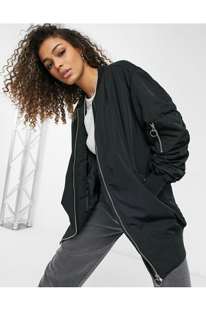 Only Longline bomber jacket with ruched sleeves in black