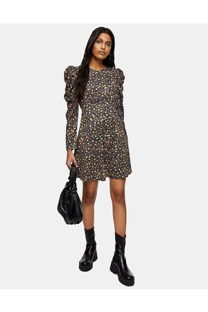 Topshop Ruched sleeve mini dress with frill hem in multi