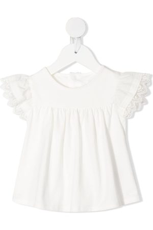 Chloé Kids Embroidered-edge ruched-detail blouse
