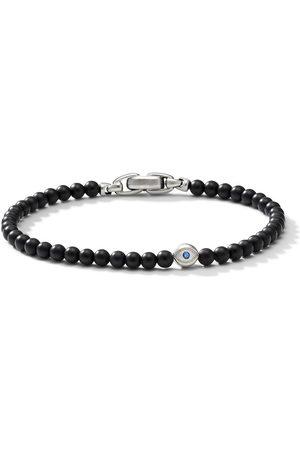 David Yurman Sterling , onyx and sapphire evil eye spiritual bracelet