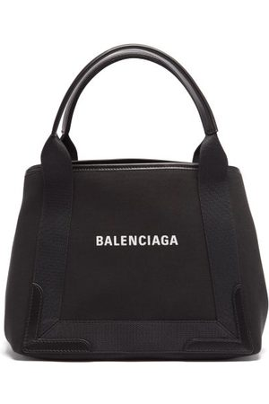 Balenciaga Cabas S Logo-print Leather-trim Canvas Tote Bag - Womens