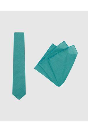 Buckle Plain Tie & Pocket Square Set - Ties (Teal) Plain Tie & Pocket Square Set