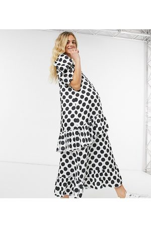 Blume Maternity Blume Studio Maternity short sleeve satin smock maxi dress in white polka