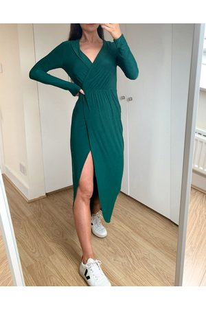 ASOS DESIGN Plunge wrap shirt maxi dress in forest green