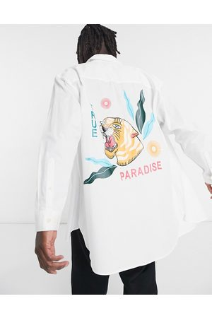 ASOS Extreme oversized shirt with back placement tiger print-White