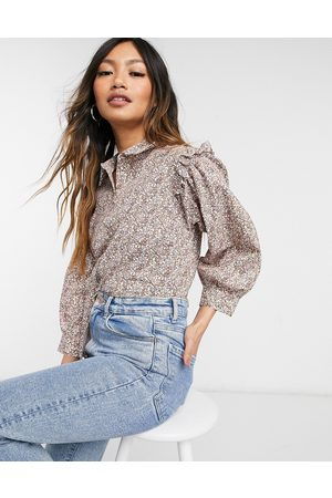 Y.A.S Shirt with frill shoulder in floral print-Multi