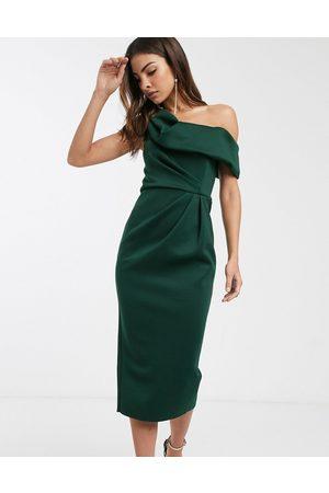 ASOS Drape fallen shoulder midi pencil dress in forest green