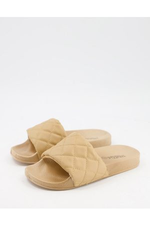 Truffle Collection Quilted pool sliders in white