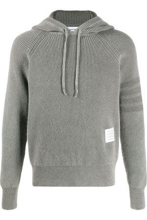 Thom Browne Men Hoodies - Cashmere knit hoodie with sleeve stripe detail