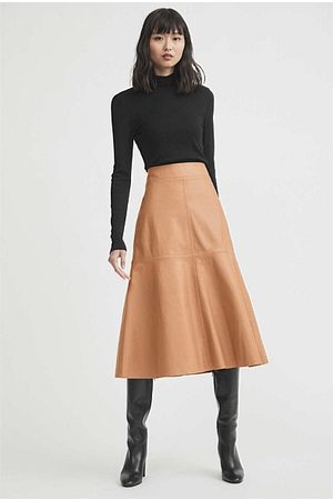 WITCHERY Leather Midi Skirt