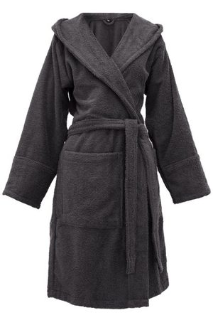 Tekla Hooded Cotton-terry Bathrobe - Womens - Dark