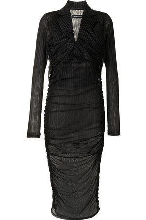 Y / PROJECT Pinstripe ruched dress